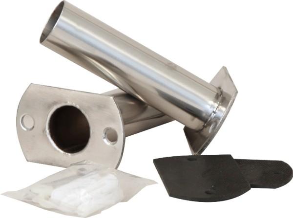 Flanschsatz mit Dübeln und VA-Schrauben für Leiterholme Ø 43 mm (Paar)